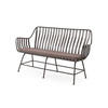 "Aged Metal ""Greg"" Bench With Brown Seat Cushion  (, Vintage)"
