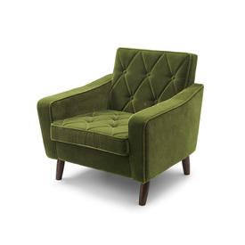 Green Velvet Retro Quilted Armchair
