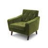 Green Velvet Retro Quilted Armchair (74cm X 72cm X 71cm H)