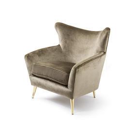 Crystal Gold Velvet ''Sophia'' Armchair with Gold Legs