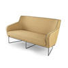 Mustard 2 Seater Sofa With Grey Piping ( H: 86cm W: 160cm D: 76cm )