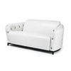 White Leather Buttoned 2 Seater Sofa ( H: 71cm W: 160cm D: 84cm )