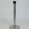 Brushed Steel Barrier Post With Black Webbing