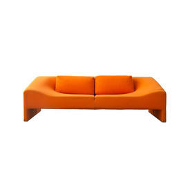 "Orange Felt ""Malmo"" Sofa with Two Rect Cushions"