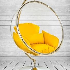 Retro Hanging Perspex Bubble Chair On Steel Disc Base With Orange Cushions