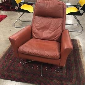 Ox Blood Leather High Back Swivel Lounge Chair