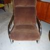 70's Tubular Chrome Canti Frame Brown Cord Lounge Armchair