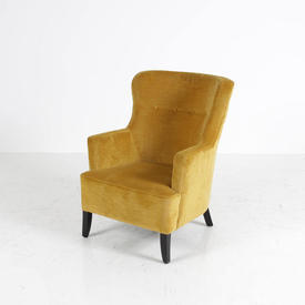 Gold Fabric Curved High Button Back Reception Chair