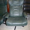 Tubular Black Frame 70's Green Stitched Leather Wing Swivel Easy Chair