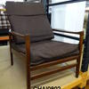 Dk Teak & Blue Fabric High Back Open Arm Easy Chair Re Cover