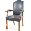 Aged Blue Studded Leather Elbow Chair With Teak Fluted Leg