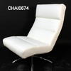 White Hide Chrome Base Ribbed Occasional Lounge Chair