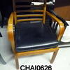 Rosewood & Black Leather Open Arm Ladderback Easy Chair