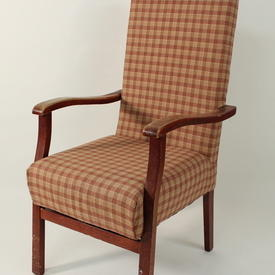 Rust/Fawn Check Pattern Fabric Open Armchair