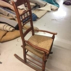 Stained Medium Oak Rush Seat Rocking Chair