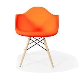 Orange Curved Plastic 'Daw' Retro Carver Wooden Eiffel Base Dining Chair