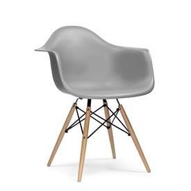 Grey Curved Plastic 'Daw' Retro Carver Wooden Eiffel Base Dining Chair