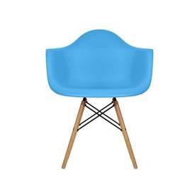 Blue Curved Plastic 'Daw' Retro Carver Wooden Eiffel Base Dining Chair