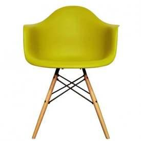 Lime Curved Plastic 'Daw' Retro Carver Wooden Eiffel Base Dining Chair
