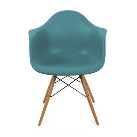 Teal Curved Plastic 'Daw' Retro Carver Wooden Eiffel Base Dining Chair