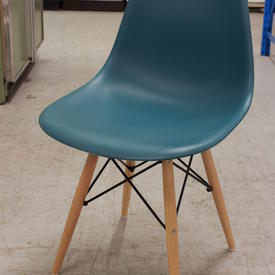 Teal Curved Plastic Retro Dining Chair Wooden Eiffel Base