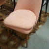 60's Pink Fabric Teak Splayed Leg Bob Dining Chair