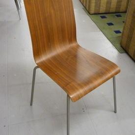 Walnut Formica & Chrome Leg Occ Dining Chair
