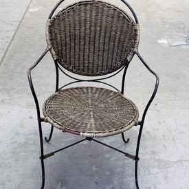 Pavillion Antique Cane & Metal Elbow Chair