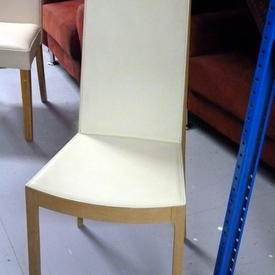 Caligaris Bleached Oak & Cream Leather Dining Chair