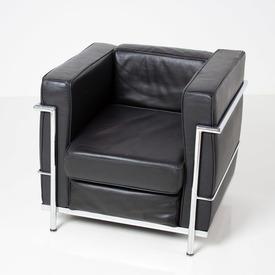 Casa Bianchi Alivar Le Corbusier Blk Hide & Chrome Armchair