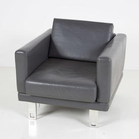 B Millie Grey Hide Armchair with Chrome Cutout Hole Leg