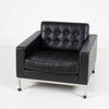 Black Leather Robin Day Armchair