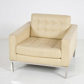Cream Buttoned Leather Robin Day Armchair
