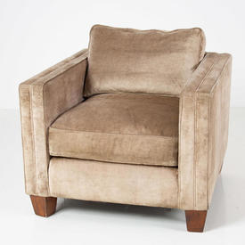 Beige Velvet Mayfair Armchair Trad.