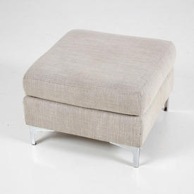 Roger Lewis Palermo Pale Grey Roll Back Fabric Footstool