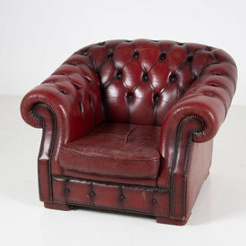 Red Leather Buttoned Chesterfield Armchair