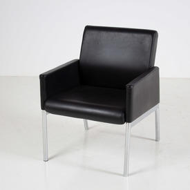 Interstuhl Black Leather Chrome Leg Mk Box Style Chair