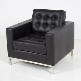 "2'9""  Black Leather Buttoned  Martin Armchair"
