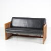Rosewood Slatted Surround & Black Leather 'maxalto' Settee