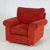 Burnt Orange Fabric Roll Arm Armchair With Wooden Foot