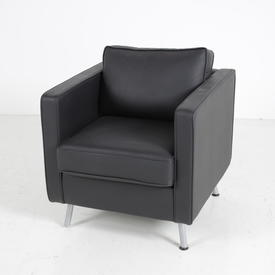 Black Leather Orangebox Armchair Chrome Legs