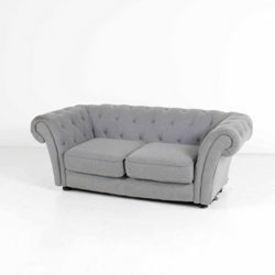 Grey Buttoned Flannel 2 Seat Chesterfield Style Mpf Sofa