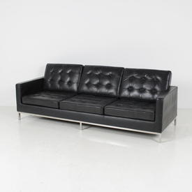 "7'6"" Black Leather Buttoned 3 Seat Martin Settee"
