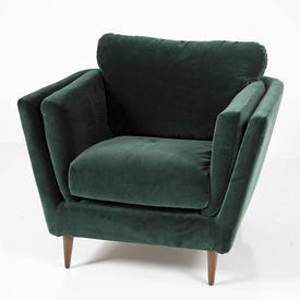 Olive Green Velour Large Armchair on Wooden Feet.