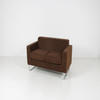 153cm X 78cm Chocolate Brown Fabric Synergy 2 Seat Sofa On Glides