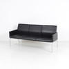 Interstuhl Black Leather Mk 180cm Chrome Leg 3 Seat Settee