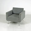 76cm X 76cm Light Grey Fabric Liberty Armchair With Cast Chrome Legs