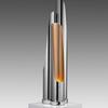 Chrome & Copper Flute Tube Table Lamp
