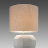 Medium Opal White Glass 'cubistic' Table Lamp & Cream Drum Shade