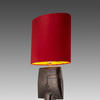 Bronze 'winq' Table Lamp With Oval Red Velvet Shade